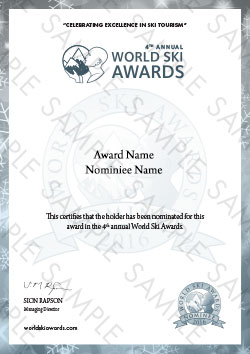World Ski Awards Nominee Certificate