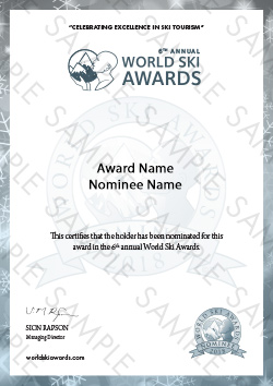 World Ski Awards Nominee Certificate